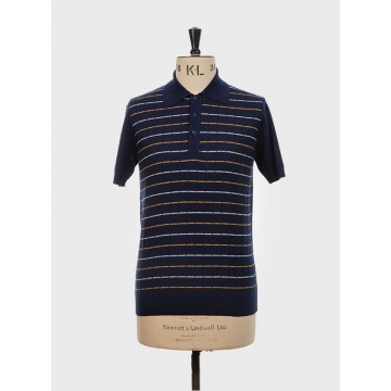 Polo tricot retro navy blue