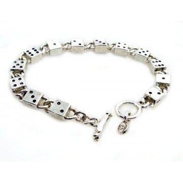 Bracelet dés métal argenté