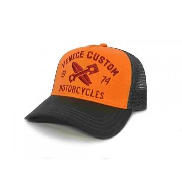 casquette venice custom trukker orange Rokker