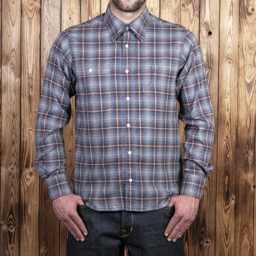 Chemise 1937 roamer blue brown check Pike Brothers