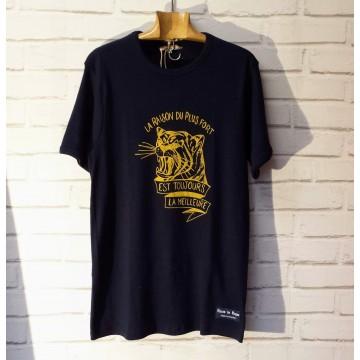 Tee shirt Tiger navy Fleurs de Bagne