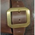 Ceinture cuir marron boucle hexagonale