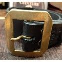 Ceinture cuir noir boucle hexa dorée
