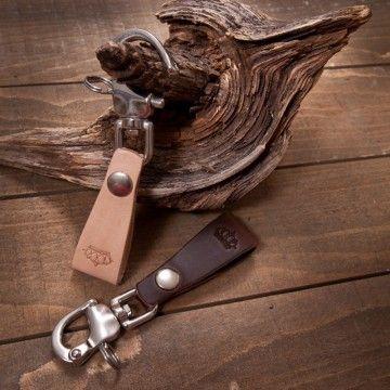 porte clé cuir marron foncé Pike Brothers