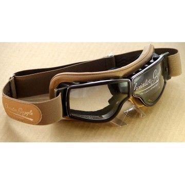 Masque moto chrome sable Aviator Goggle