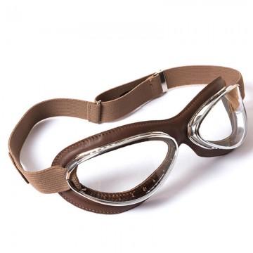 Masque 4602 cuir brun Aviator Goggle Leon Jeantet