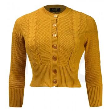 Cardigan court rétro jaune doré