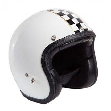 Casque jet superflat blanc 70's helmets