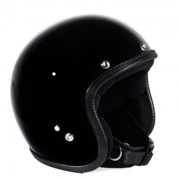 Casque jet noir gloss Seventies helmets