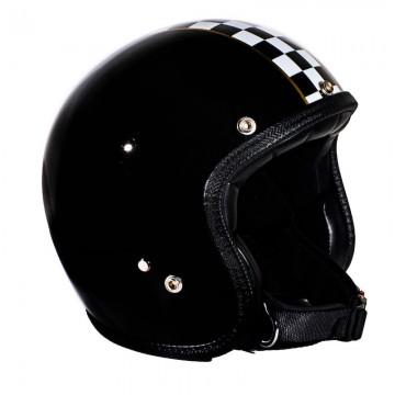 casque jet noir damier Seventies Helmets