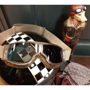 Masque moto marron vieilli Aviator Goggle