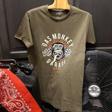 Tee-shirt twin flags kaki Gas Monkey