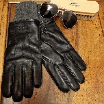 Gants en cuir noir rétro Stetson