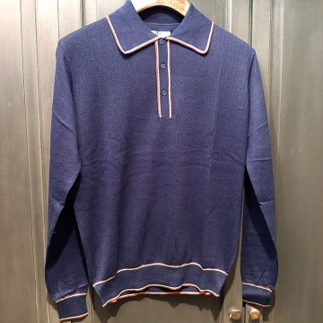 Polo tricot rétro Isley navy