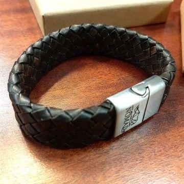 Bracelet cuir tressé marron foncé