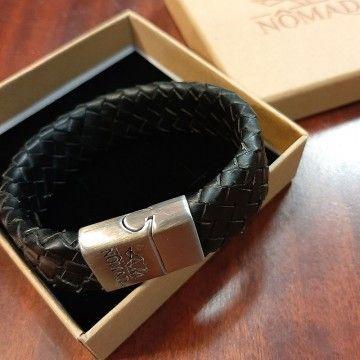 Bracelet cuir tressé noir Homme