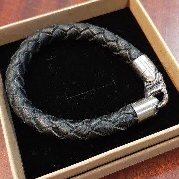 Bracelet cuir tressé rond Homme