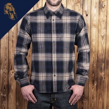 Chemise flanel blue beige check Pike Brothers