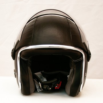 casque vintage ZEON en cuir noir Baruffaldi