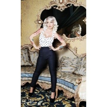pantalon cigarette pin up denim