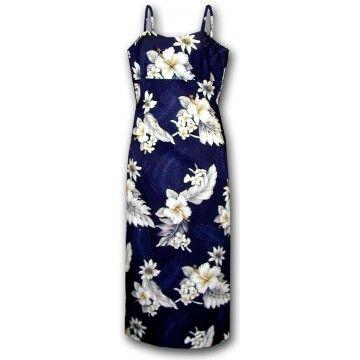 robe hawaiienne longue bleue