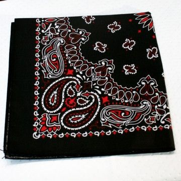 Bandana US véritable noir et rouge
