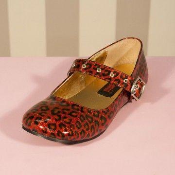 Ballerines léopard rouge