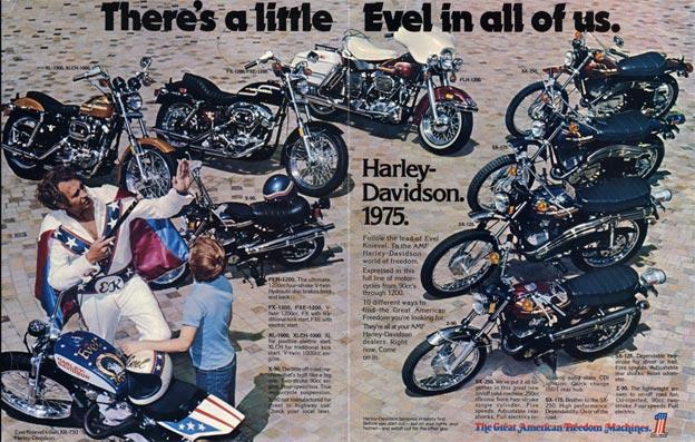 Evel Knievel dans une publicité Harley Davidson