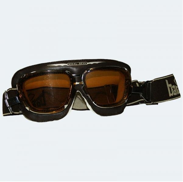 lunettes de moto en cuir noir