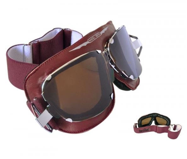 lunettes de moto en cuir rouge